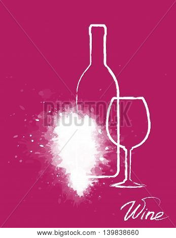 art grapes silhouette with hand drawing wine bottle and glass