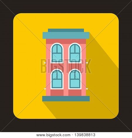 Pink two storey house icon in flat style on a yellow background
