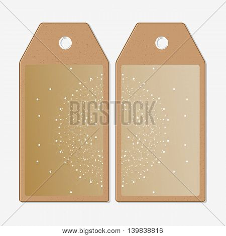 Vector tags design on both sides, cardboard sale labels. Abstract polygonal low poly backdrop with connecting dots and lines, golden background, connection structure. Digital or science vector