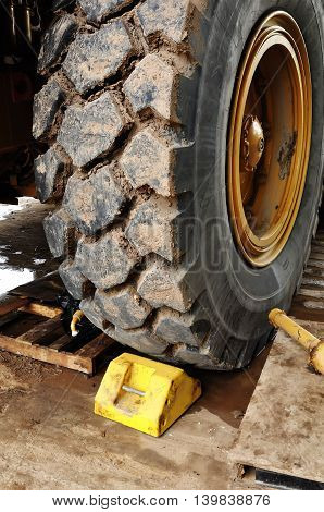 routine check vehicle tire hauling big truck