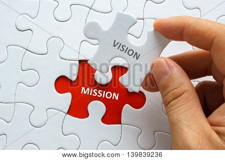 Hand Holding Piece Of Jigsaw Puzzle With Word Vision Mission.