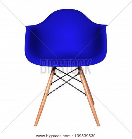 Blue color chair, modern chair isolated on white background. Plastic furniture chair cut out.
