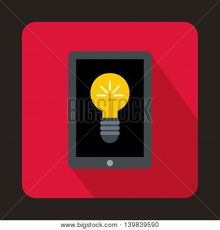 Light bulb on tablet pc computer screen icon in flat style on a pink background