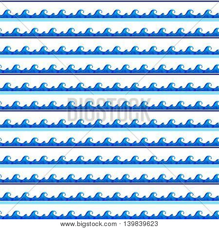 Another strip of sea blue watercolor wave crest pattern seamless