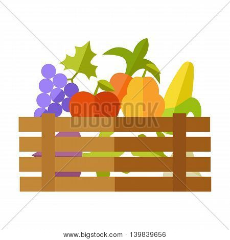 Fresh fruits and vegetables at the market vector. Flat design. Delivery farm products, grocery store assortment,  foods for diet concept. Wooden box full of apple, grape, pears, corn, beets, radishes.