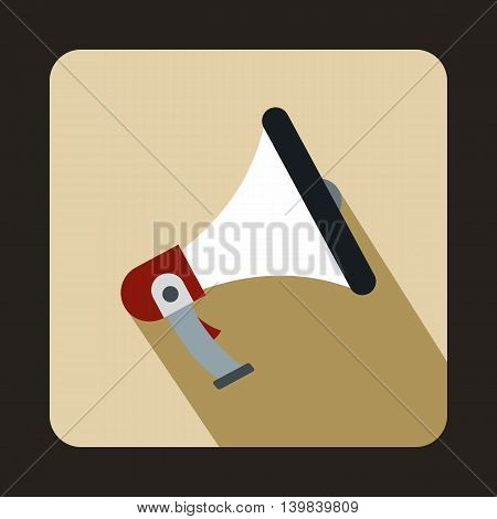 Loudspeaker icon in flat style on a beige background