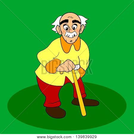 Old man with walking cane. Vector cartoon or comic character on green background. White gray hair and mustache