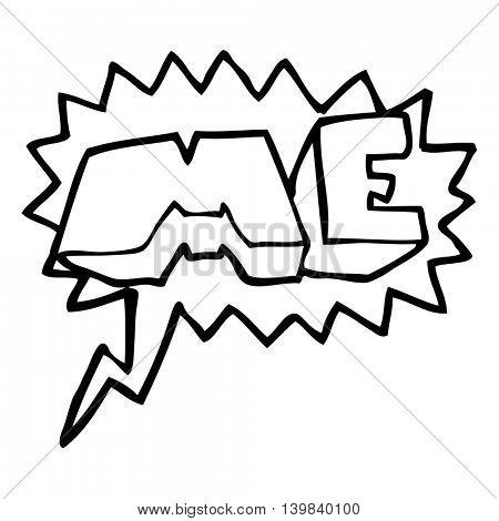 freehand drawn speech bubble cartoon ME symbol