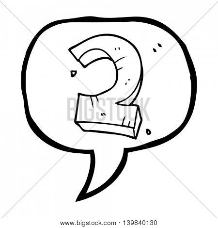 freehand drawn speech bubble cartoon stone number two