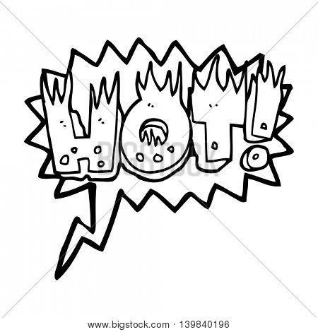 freehand drawn speech bubble cartoon hot symbol