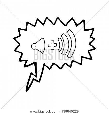 freehand drawn speech bubble cartoon volume symbol