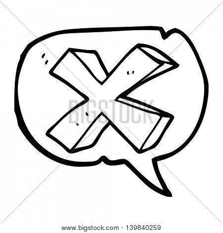 freehand drawn speech bubble cartoon negative x symbol