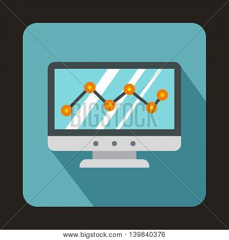 Graph on the computer monitor icon in flat style on a baby blue background