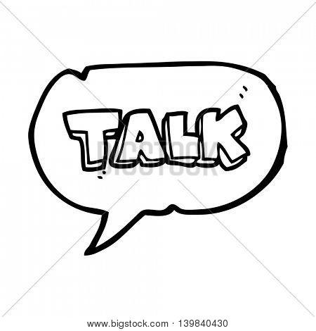 freehand drawn speech bubble cartoon talk symbol