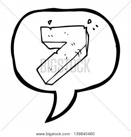 freehand drawn speech bubble cartoon stone number seven