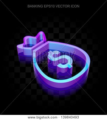 Currency icon: 3d neon glowing Money Bag made of glass with transparent shadow on black background, EPS 10 vector illustration.
