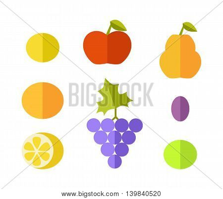 Set of fruits vectors. Flat style design. Lemon, grape, apple, grapefruit, melon, plum, pear, orange illustrations for conceptual banners, icons infographics Isolated on white background