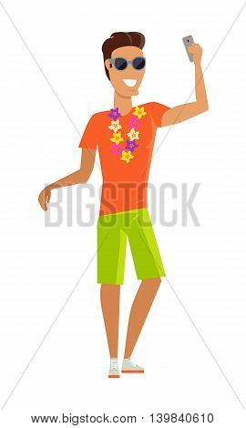 Young man with a necklace of tropical flowers makes a selfie vector illustration. Tourists take pictures on vacation in tropical country. Flat style design concept. Isolated on white.
