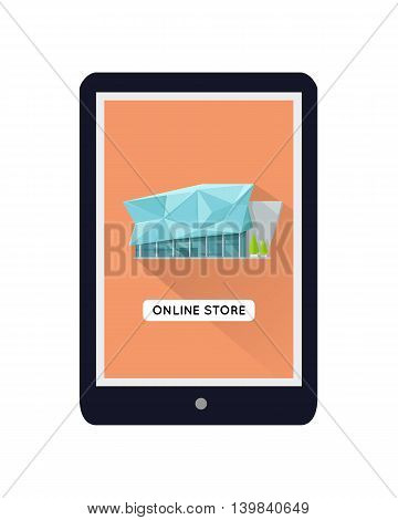 Shopping centre web page template on mobile device. Flat design. Illustration for web design, app icons, online shopping banners. Shop, shopping center, mall, supermarket, business center on screen