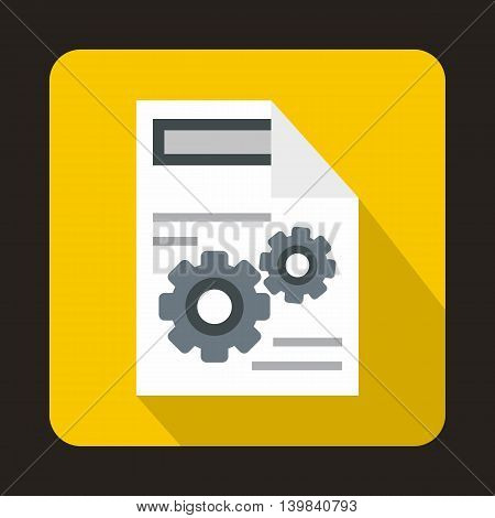 Gears on a paper icon in flat style on a yellow background