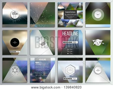 Set of 12 creative cards, square brochure template design. Abstract multicolored background, blurred nature landscapes, geometric vector, triangular style illustration.