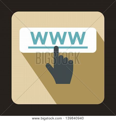 Hand cursor icon in flat style on a beige background