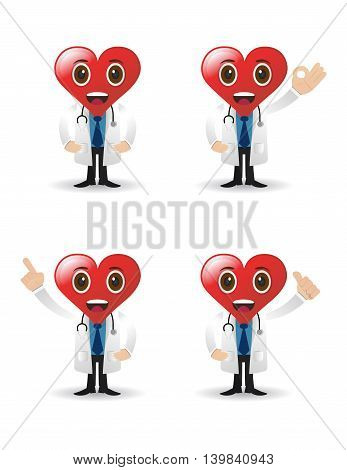 character design with love face with stethoscope isolated