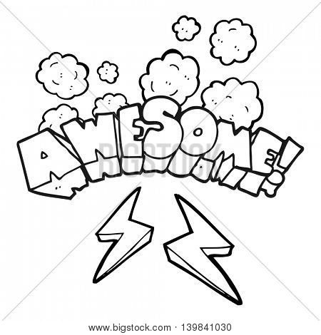 freehand drawn black and white cartoon word awesome