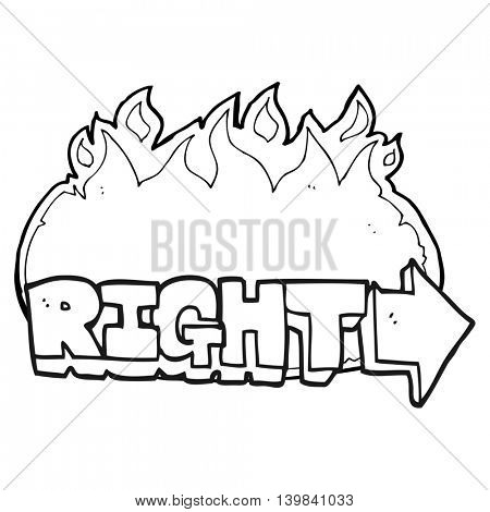 freehand drawn black and white cartoon right symbol