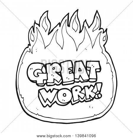 great work freehand drawn black and white cartoon symbol