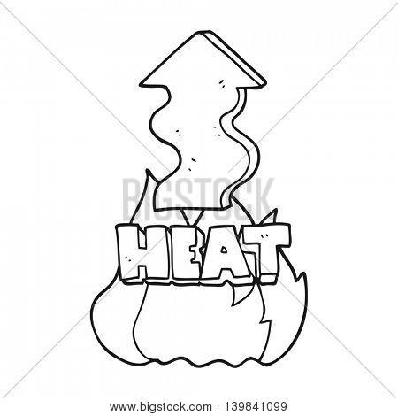 freehand drawn black and white cartoon heat rising