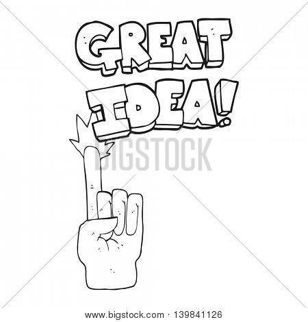 freehand drawn black and white cartoon great idea symbol