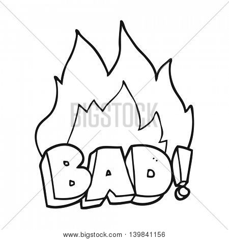 freehand drawn black and white cartoon Bad symbol