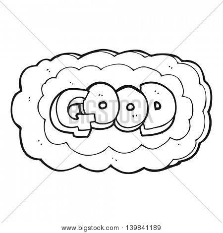 freehand drawn black and white cartoon Good symbol