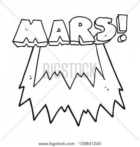 freehand drawn black and white cartoon Mars text symbol