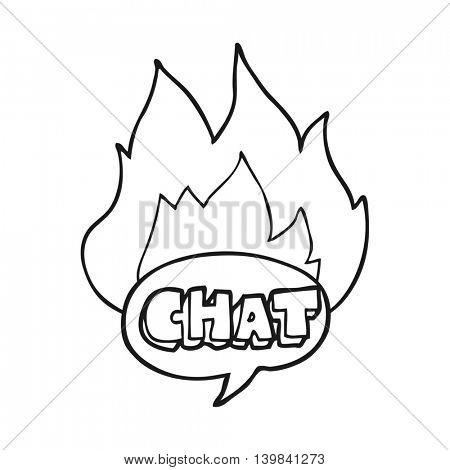 freehand drawn black and white cartoon chat symbol
