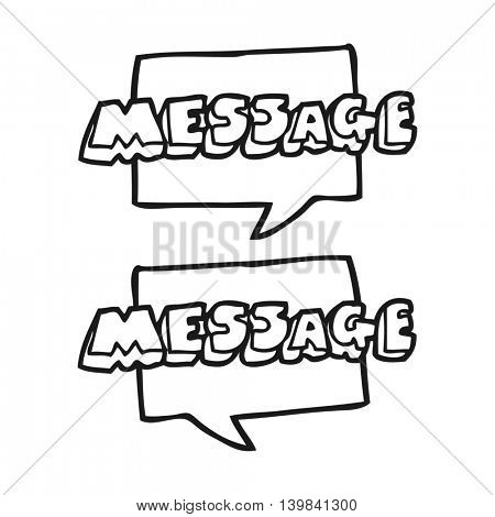 freehand drawn black and white cartoon message texts