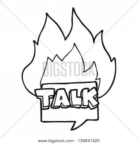 freehand drawn black and white cartoon talk symbol