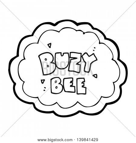 freehand drawn black and white cartoon buzy bee text symbol
