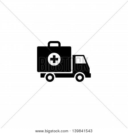 ambulance car icon. first aid kit on wheels sign or symbol. isolated on white background. vector illustration