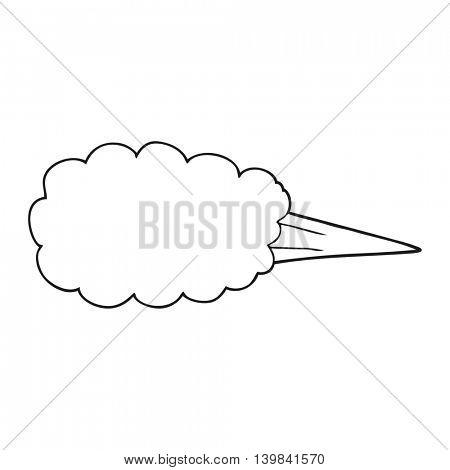 freehand drawn black and white cartoon steam blast symbol