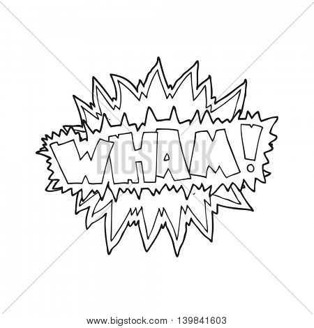 freehand drawn black and white cartoon explosion sign
