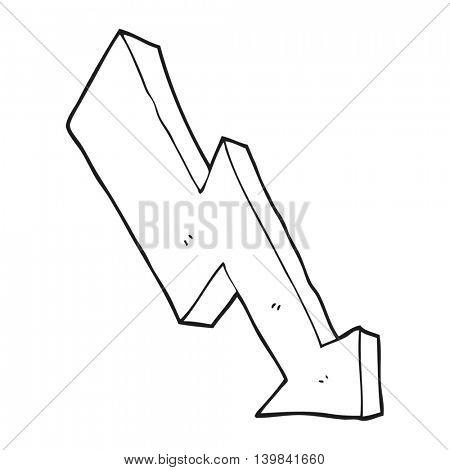freehand drawn black and white cartoon arrow down trend