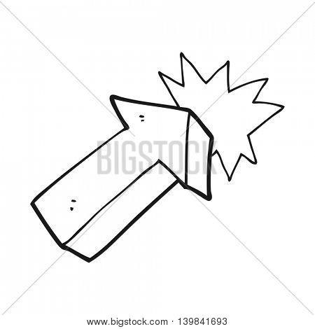 freehand drawn black and white cartoon pointing arrow symbol