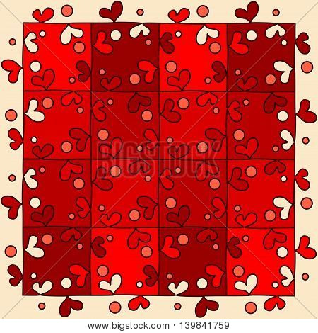 Seamless red puzzle in the form of hearts.
