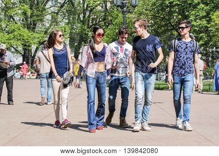 St. Petersburg, Russia - 9 May, A group of young people, 9 May, 2016. Vacationers people on the lawns and gardens in the city.