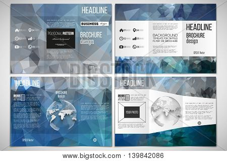 Vector set of tri-fold brochure design template on both sides with world globe element Abstract blue polygonal background, colorful backdrop, modern stylish vector texture.