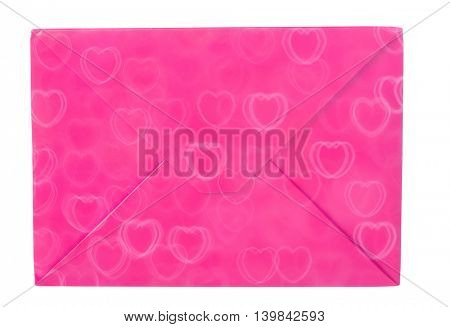 pink envelope in hearts isolated on white background