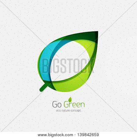 Eco nature leaf, go green environmental concept. Minimal abstract geometric design, created with circles and round shapes. Green and blue colors
