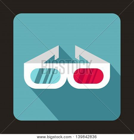 3D cinema glasses icon in flat style on a baby blue background